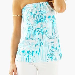 Lilly Pulitzer Blue & White Top - Cotton Size SM